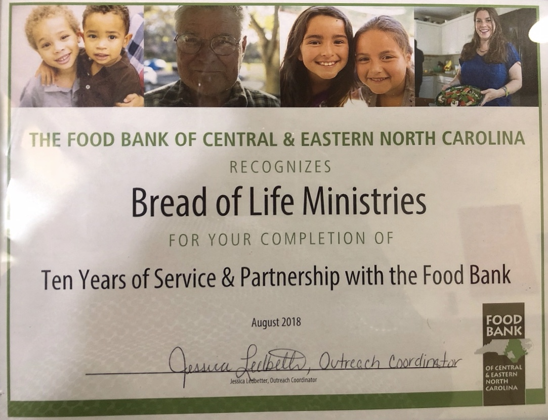 Bread of Life Ministries Award
